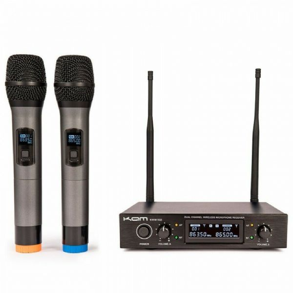 KAM UHF FIXED TWIN CHANNEL PROFESSIONAL WIRELESS MICROPHONE SYSTEM - KWM1932